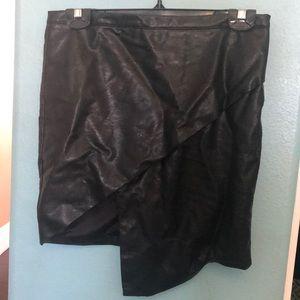 Forever 21 Leather Mini Skirt Asymmetrical